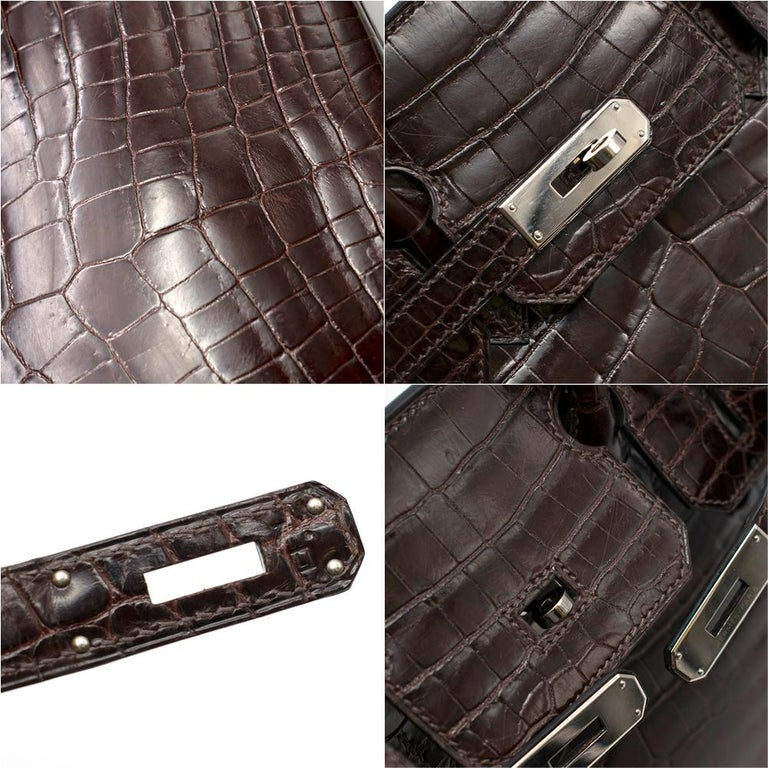 Hermes Chocolate Shiny Porosus Crocodile Leather 30cm Birkin For Sale 2