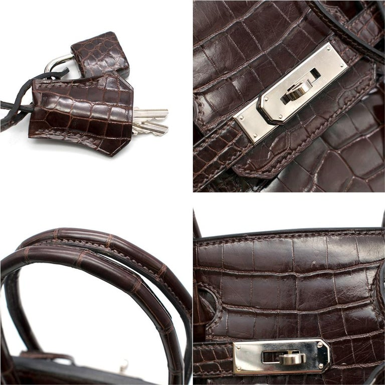 Hermes Chocolate Shiny Porosus Crocodile Leather 30cm Birkin For Sale 3