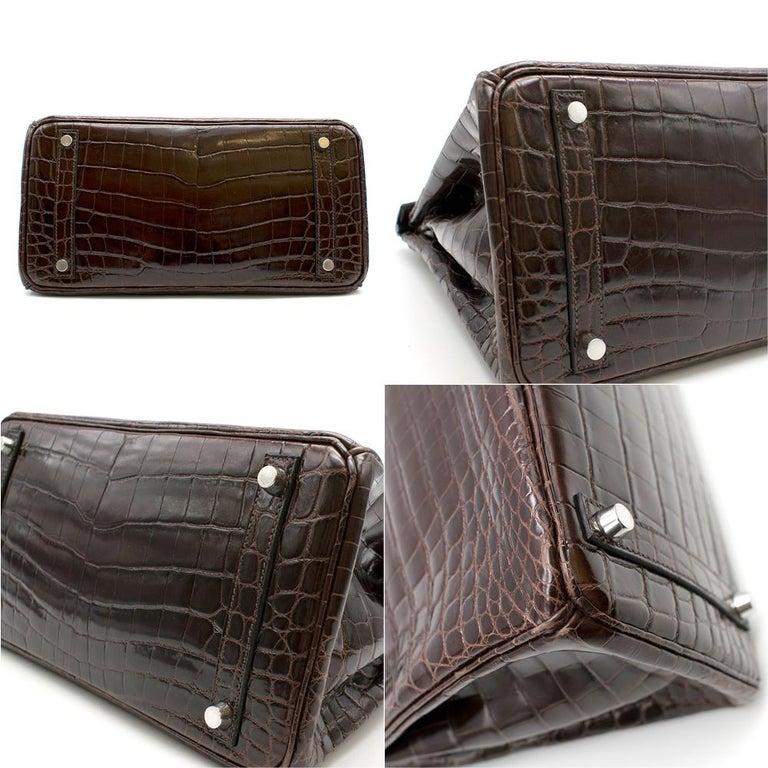 Hermes Chocolate Shiny Porosus Crocodile Leather 30cm Birkin For Sale 4