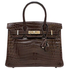 Hermes Chocolate Shiny Porosus Crocodile Leather 30cm Birkin