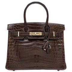 Hermes Chocolate Shiny Porosus Crocodile Leather 30cm Birkin