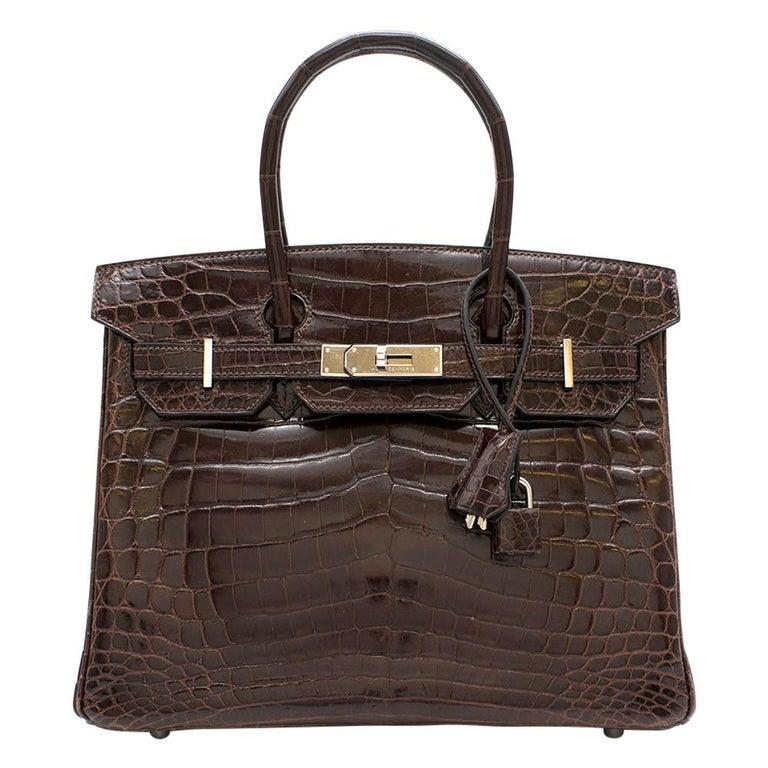 Hermes Chocolate Shiny Porosus Crocodile Leather 30cm Birkin For Sale
