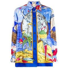 Hermes Christophe Colomb Découvre L Amerique Silk Shirt