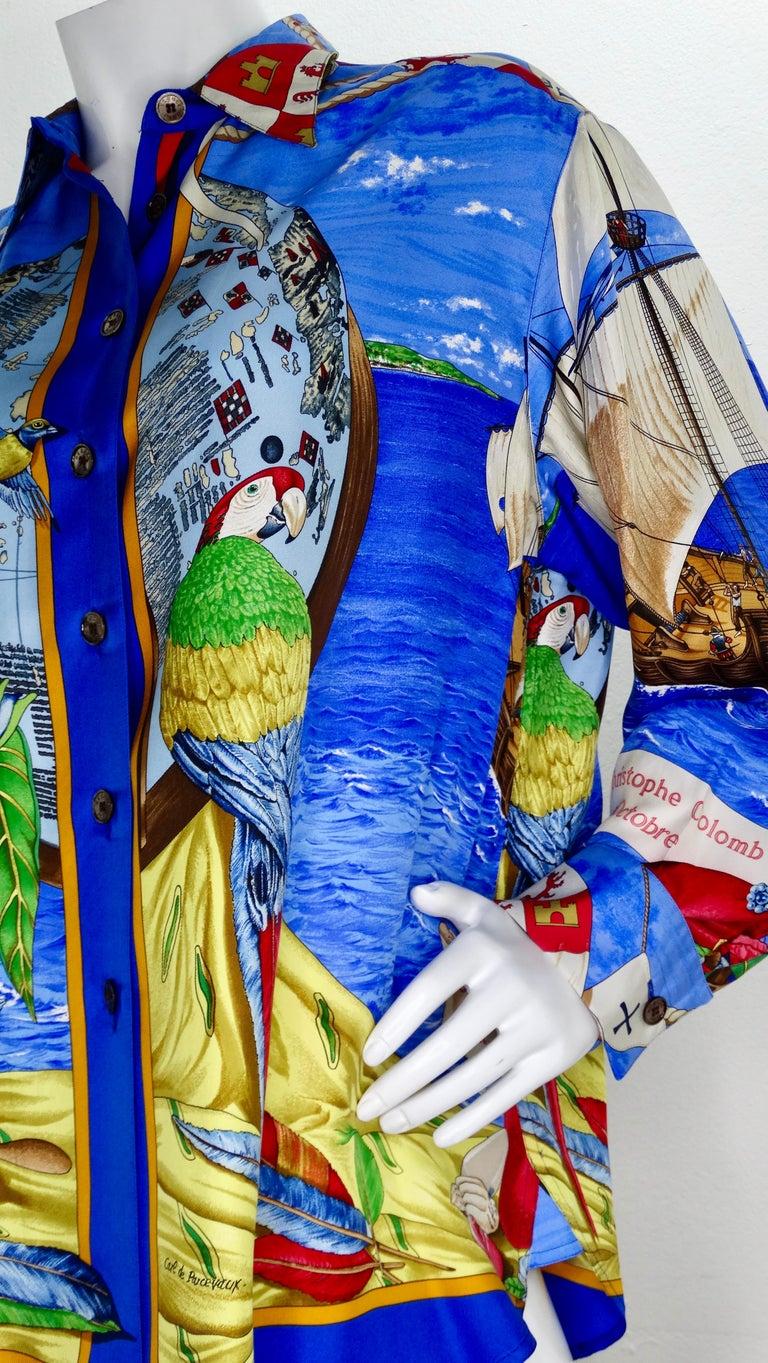 Hermes 'Christophe Colomb Decouvre l'Amerique' Blouse For Sale 6