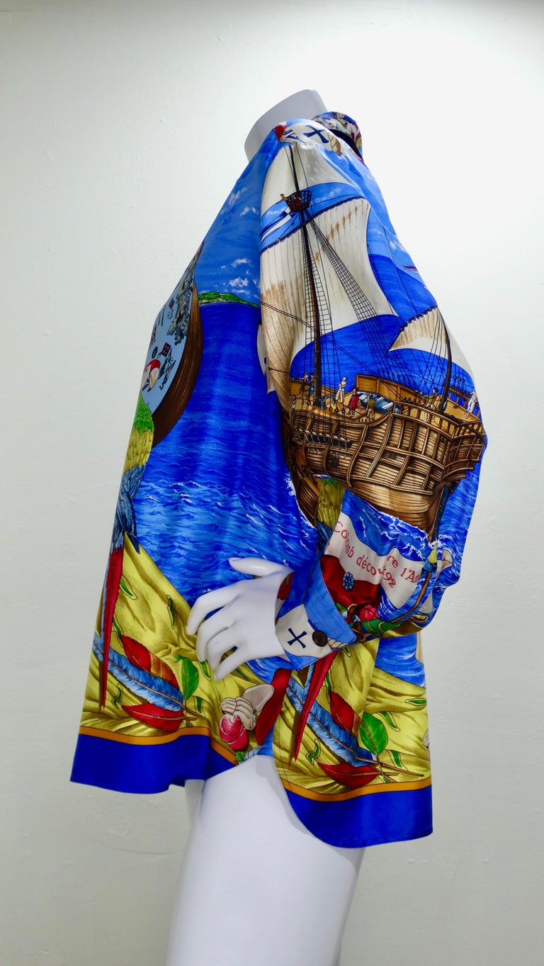 Complete your Hermes collection with this amazing and rare piece! Circa 1992 designed by Carl de Parcevaux, this design is titled 'Christophe Colomb Decouvre l'Amerique' or Christopher Columbus Discovers America. It features a colorful motif