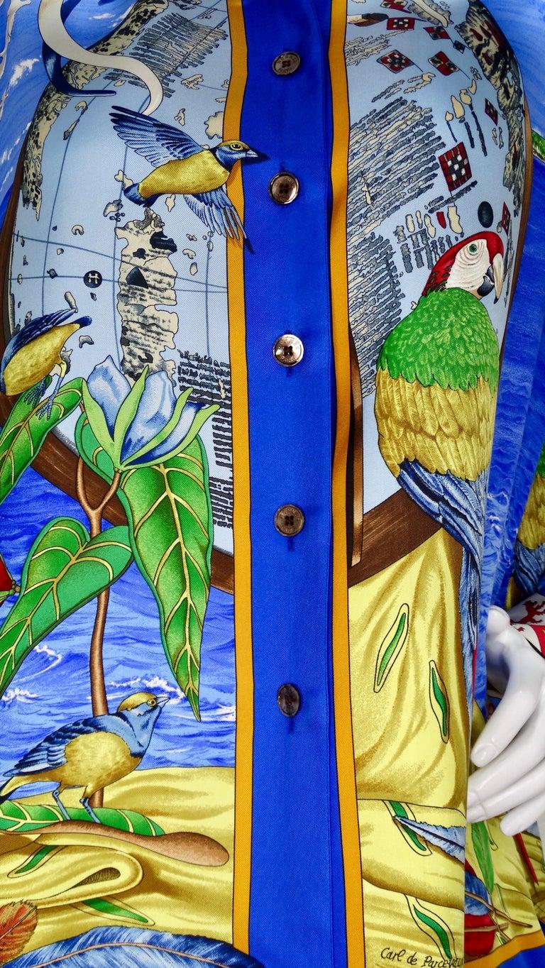 Blue Hermes 'Christophe Colomb Decouvre l'Amerique' Blouse For Sale