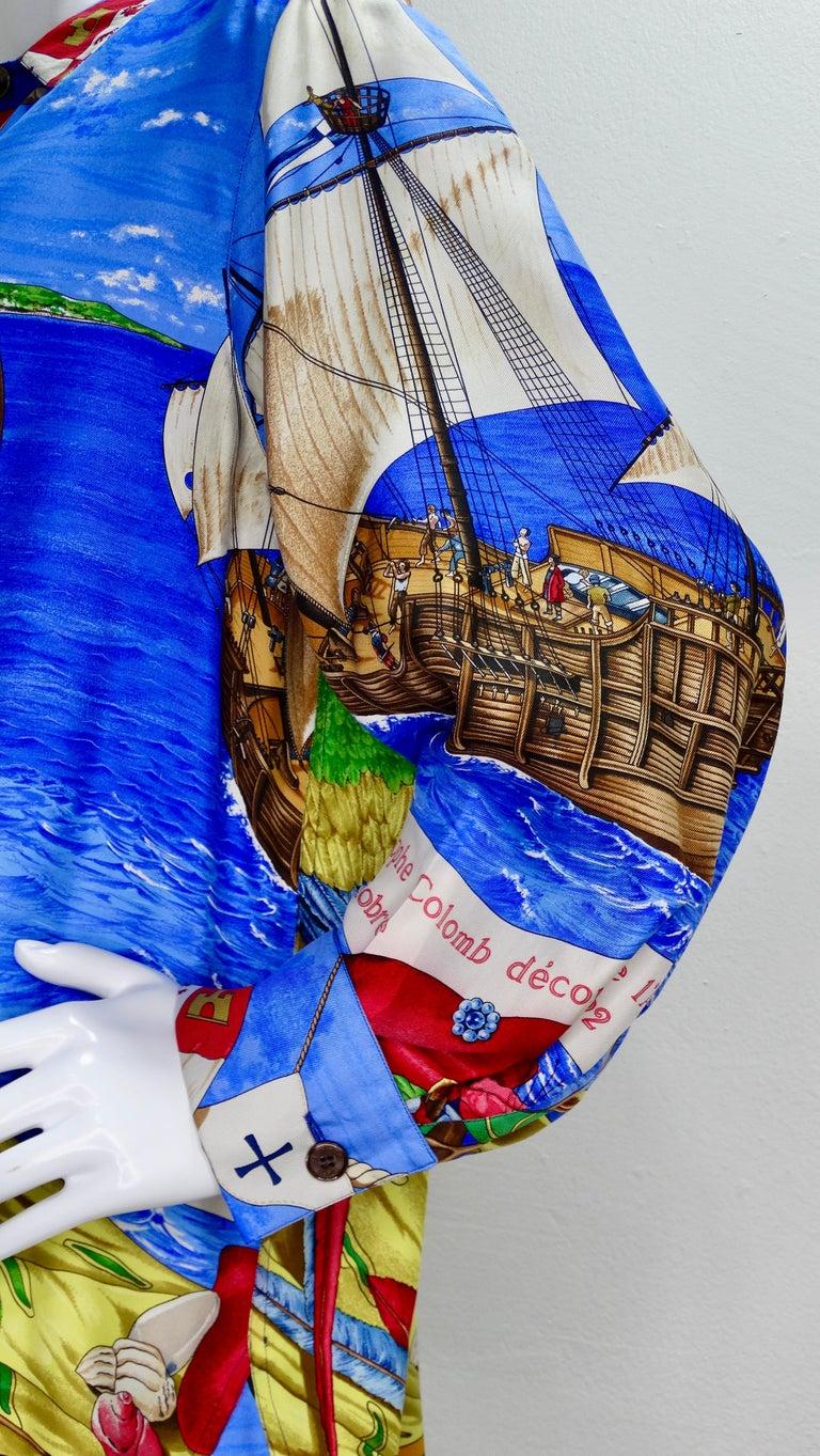 Hermes 'Christophe Colomb Decouvre l'Amerique' Blouse In Good Condition For Sale In Scottsdale, AZ