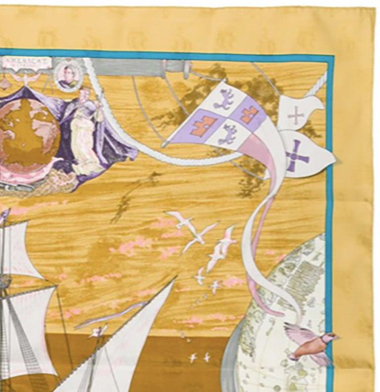 Beige Hermes Christophe Colomb Découvre l'Amérique by Carl de Parcevaux Silk Scarf