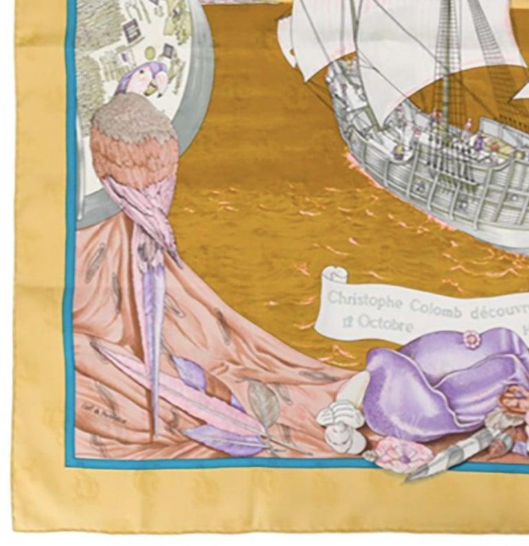 Hermes Christophe Colomb Découvre l'Amérique by Carl de Parcevaux Silk Scarf In Excellent Condition In Paris, FR