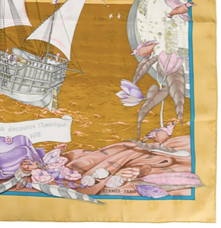 Women's or Men's Hermes Christophe Colomb Découvre l'Amérique by Carl de Parcevaux Silk Scarf