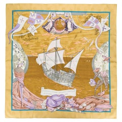 Hermes Christophe Colomb Découvre l'Amérique by Carl de Parcevaux Silk Scarf