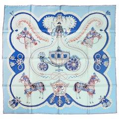"""Hermes Ciel/ Blue Glacier/ Bordeaux """"Paperoles"""" 90cm Silk Scarf"""