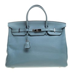 Hermes Ciel Clemence Leather Palladium Hardware Birkin 40 Bag