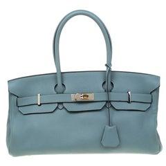 Hermes Ciel Clemence Leather Palladium Hardware Shoulder Birkin 42 Bag