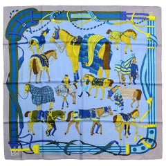 """Hermes Ciel/Parme/Moutard """"Ronds de Marche"""" 90cm Silk Scarf"""
