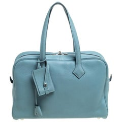Hermes Ciel Togo Victoria II Fourre Tout 35 Bag