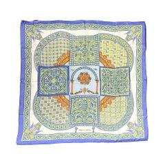 """Hermès """"Ciels Byzantins"""" Silk Chiffon 90 cm Scarf by Julia Abadie, 1997."""