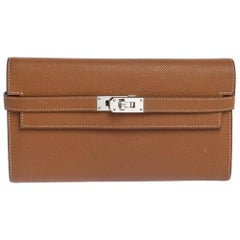Hermes Cigare Epsom Leather Kelly Wallet