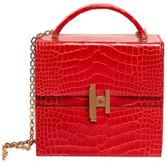 Hermes Cinhetic Bag Rouge de Coeur Shiny Alligator Permabrass Hardware New w/Bo