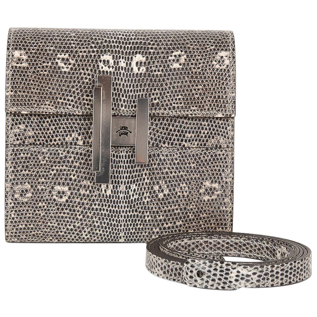 Hermes Cinhetic Mini Wallet Ombre Lizard Clutch Shoulder Bag