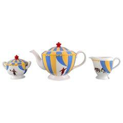 Hermès Circus Tea Service, Porcelain Teapot, Cream Jug and Sugar Bowl