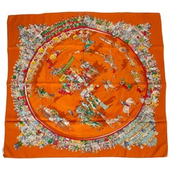 "Hermès ""Cirque Moliere"" Orange Silk Scarf"