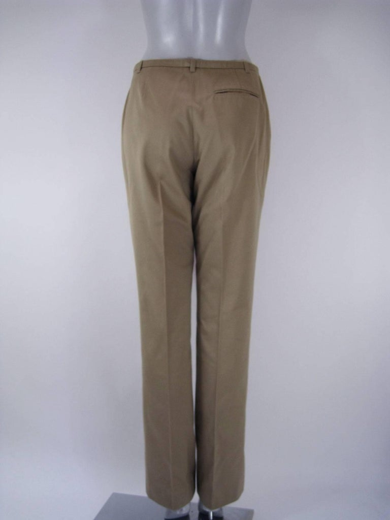 Hermes Classic Cotton Khaki Pants Slacks In Good Condition For Sale In San Francisco, CA