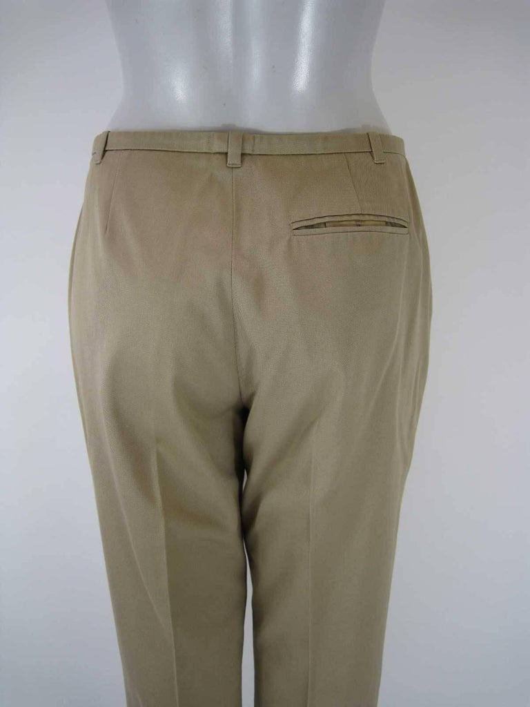 Women's Hermes Classic Cotton Khaki Pants Slacks For Sale