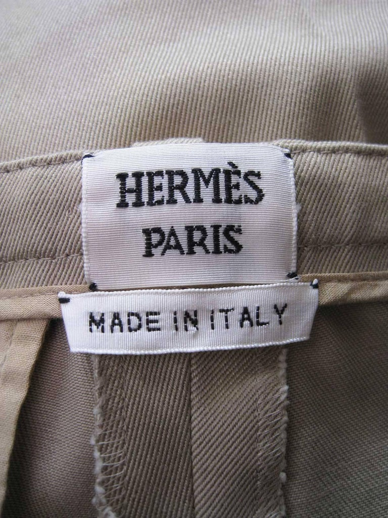Hermes Classic Cotton Khaki Pants Slacks For Sale 1