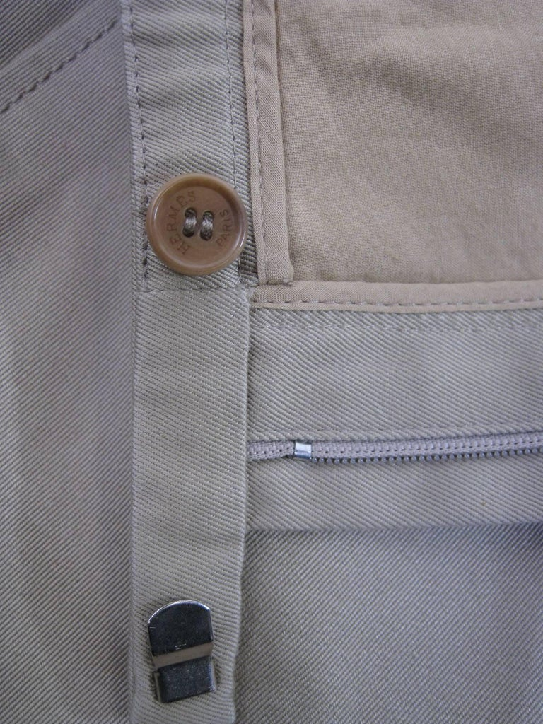 Hermes Classic Cotton Khaki Pants Slacks For Sale 3