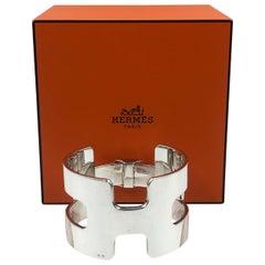 Hermés Classic H Sterling Silver Cuff Bracelet