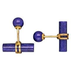 Hermes Classic Lapis Lazuli 18 Carat Yellow Gold T-Bar Cufflinks, circa 1970s