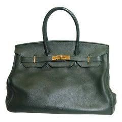 Hermes Classic Malachite Green Togo Leather Birkin 35 Bag