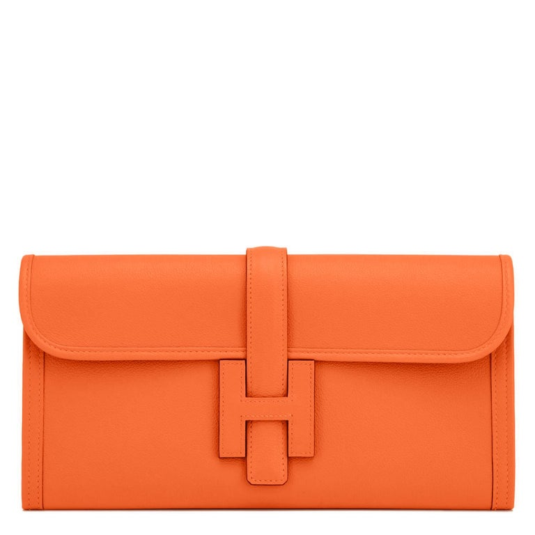 Hermes Classic Orange Jige Elan Clutch Bag 29cm NEW RARE In New Condition For Sale In New York, NY