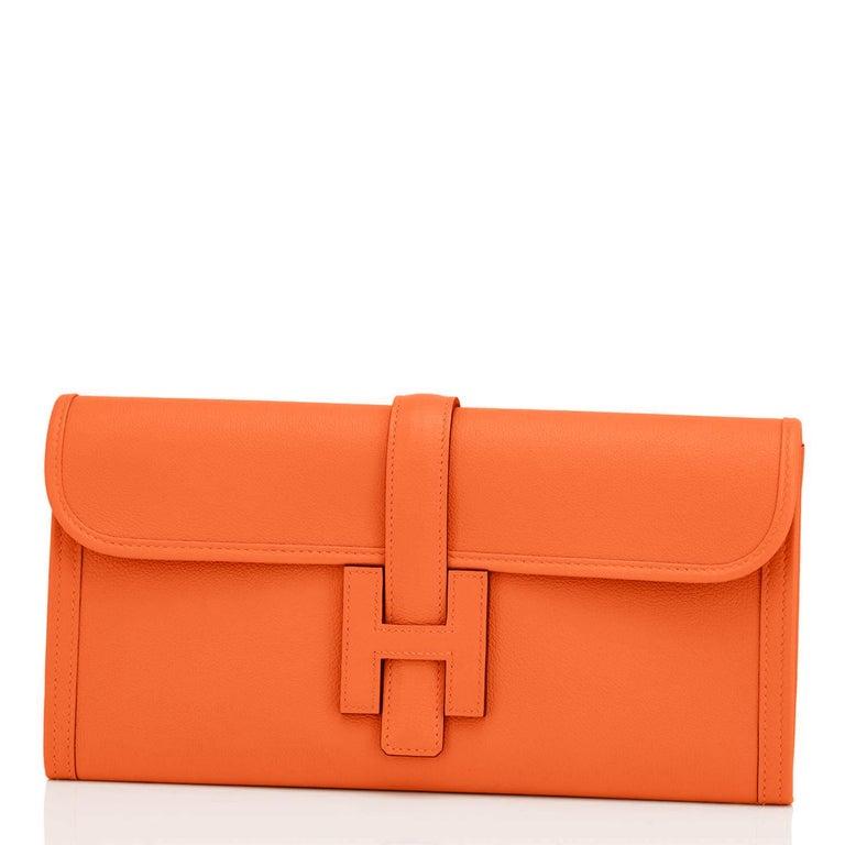 Women's or Men's Hermes Classic Orange Jige Elan Clutch Bag 29cm NEW RARE For Sale