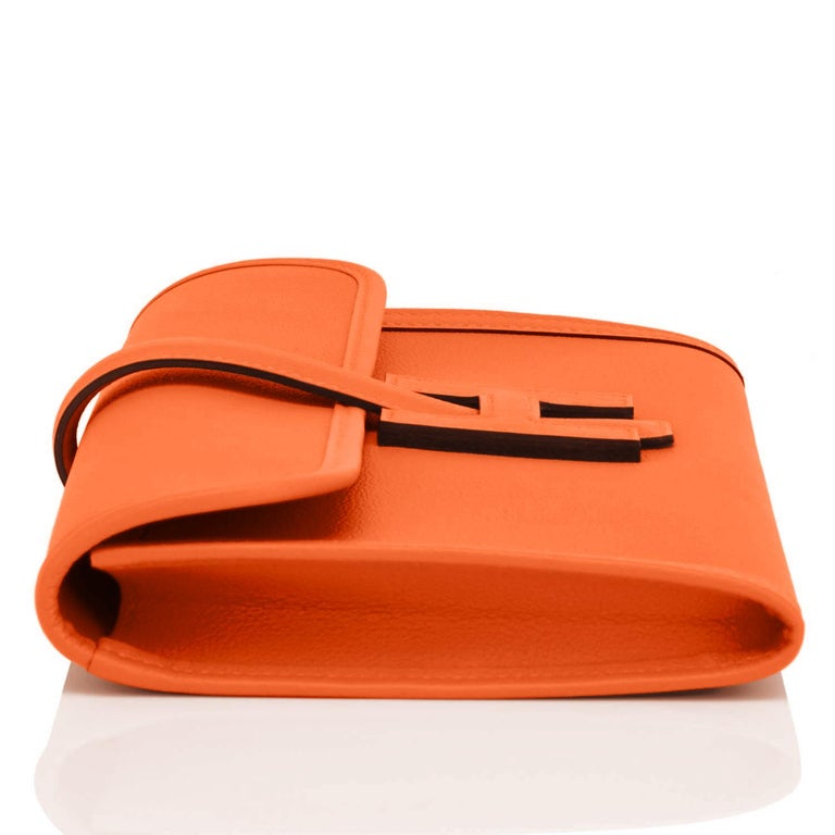 Hermes Classic Orange Jige Elan Clutch Bag 29cm NEW RARE For Sale 2