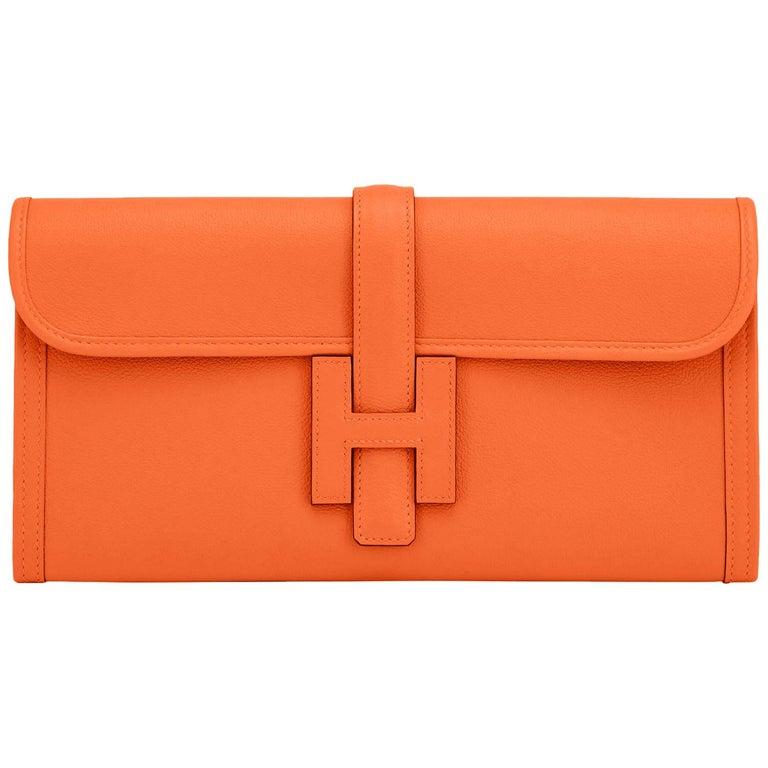 Hermes Classic Orange Jige Elan Clutch Bag 29cm NEW RARE For Sale
