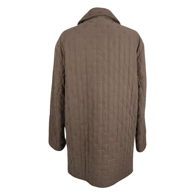 Hermes Classic Paddock Jacket Taupe Lightly Wadded 42 / 8  For Sale 5