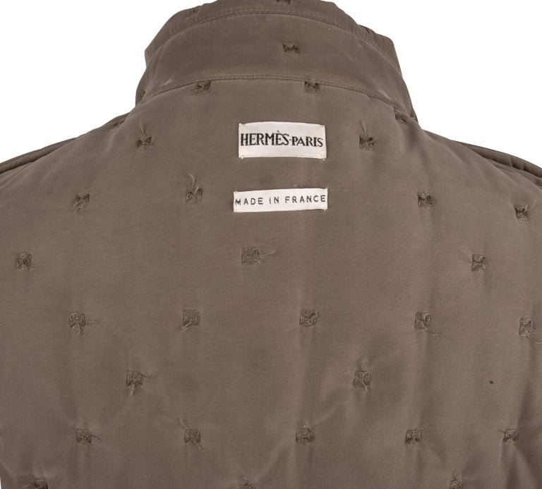 Hermes Classic Paddock Jacket Taupe Lightly Wadded 42 / 8  For Sale 9