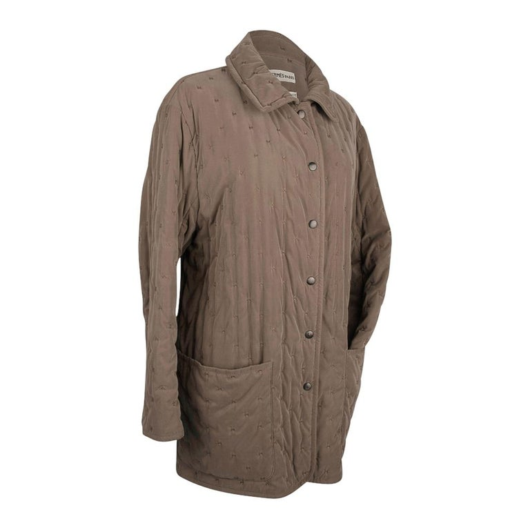 Brown Hermes Classic Paddock Jacket Taupe Lightly Wadded 42 / 8  For Sale