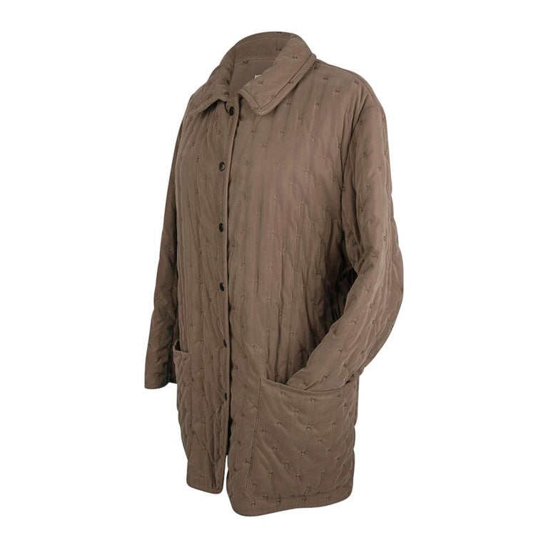 Women's Hermes Classic Paddock Jacket Taupe Lightly Wadded 42 / 8  For Sale