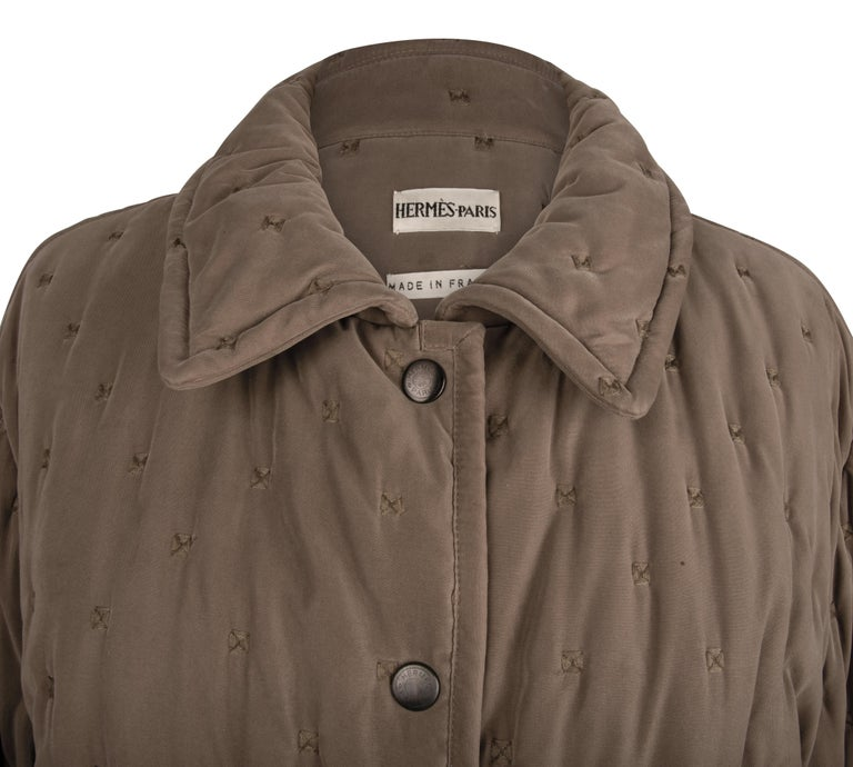 Hermes Classic Paddock Jacket Taupe Lightly Wadded 42 / 8  For Sale 1