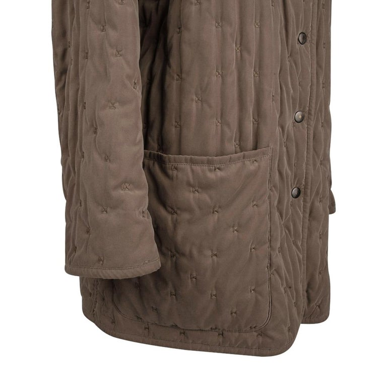 Hermes Classic Paddock Jacket Taupe Lightly Wadded 42 / 8  For Sale 3