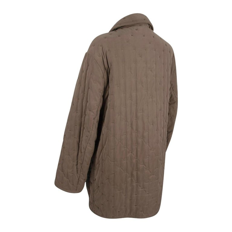 Hermes Classic Paddock Jacket Taupe Lightly Wadded 42 / 8  For Sale 4