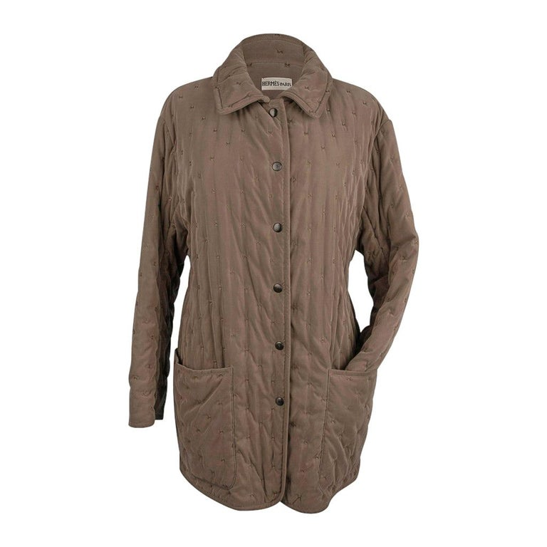 Hermes Classic Paddock Jacket Taupe Lightly Wadded 42 / 8  For Sale