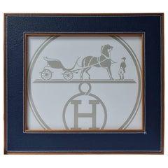 Hermes Classic Pleiade Blue Regate Leather Photo Frame