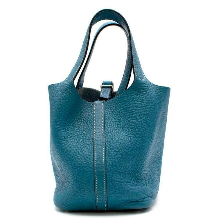 Hermes Clemence Leather Blue Jean Picotin 18 Bag  - Hermes [F] 2002 - Two Handles with contrast stitching trim  - Fully Lined in Suede with Clemence leather base - Cross strap for closure (LOCK IS MISSING)  Please note, these items are pre-owned and