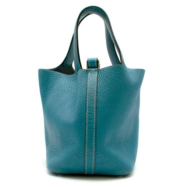 Hermes Clemence Leather Blue Jean Picotin 18 Bag In Good Condition For Sale In London, GB