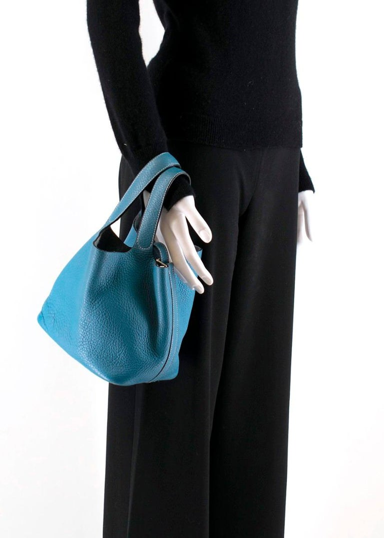 Hermes Clemence Leather Blue Jean Picotin 18 Bag For Sale 1