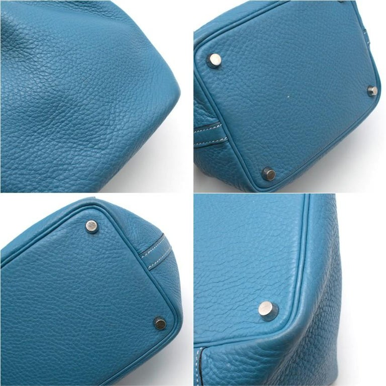 Hermes Clemence Leather Blue Jean Picotin 18 Bag For Sale 2